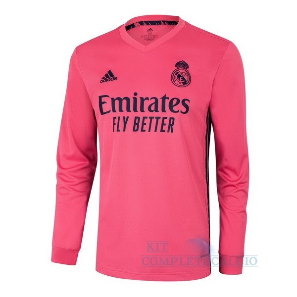 Away Manica lunga Real Madrid 2020 2021 Rosa Maglie Calcio Thailandia