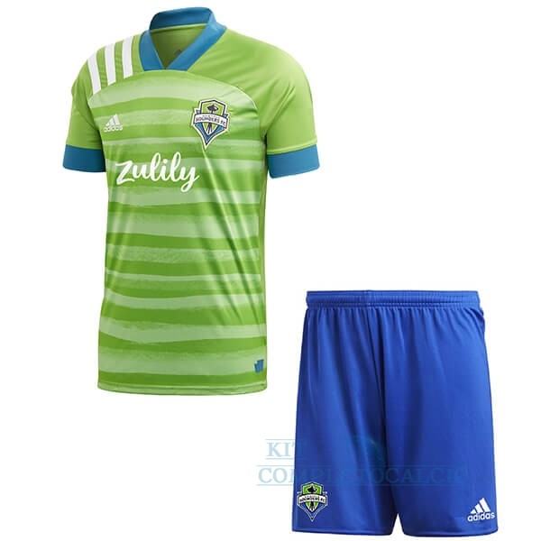 Home Set Completo Bambino Seattle Sounders 2020 2021 Verde Maglie Calcio Thailandia