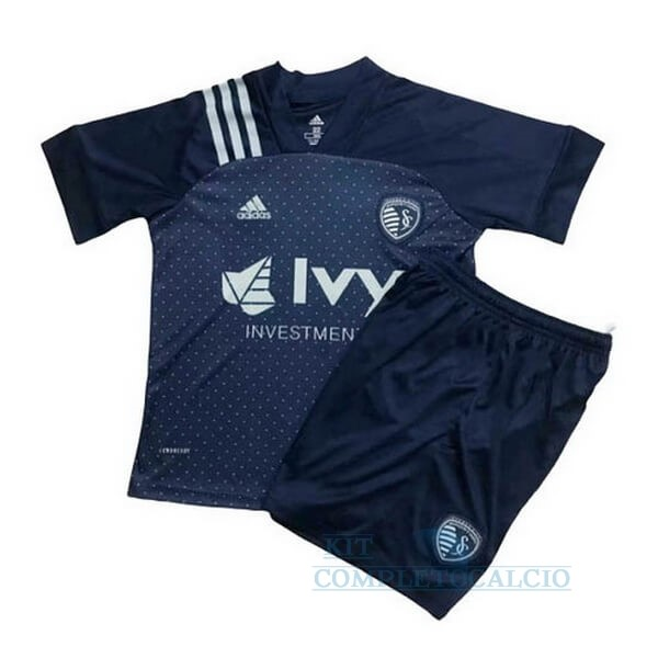 Away Set Completo Bambino Sporting Kansas City 2020 2021 Blu Maglie Calcio Thailandia